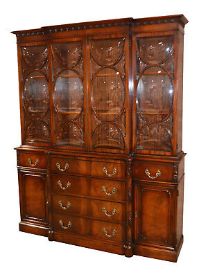 Vintage Regency Two Piece Mahogany China Cabinet w/Butlers Desk & Bubble Glass