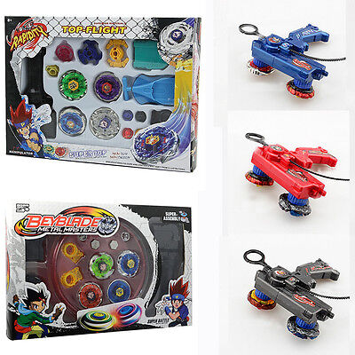 4D Beyblade Metal Masters Fusion Top Fight Rare Rotate Grip Launcher Set Kid Toy