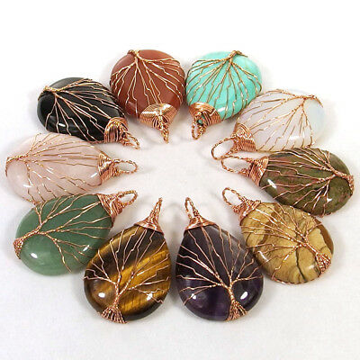 Handmade Copper Wire Wrapped Life Tree Natural Stone Water Drop Pendant