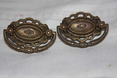 2 Antique Brass KB Co Keeler Ornate Small Single Screw  Drawer Pull Handles