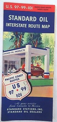Vintage 1940 Standard Oil Interstate Route Map (U.s. 97-99-101 Of Pacific Coast)