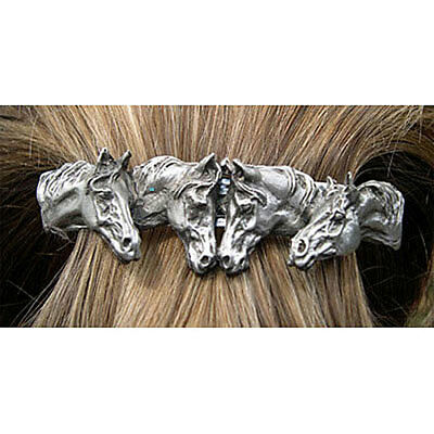 HORSE JEWELRY scarf clip barrette Pewter four horse heads Direct From Artist!