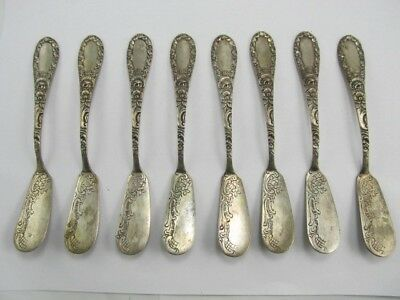"800 Silver Set 8 Rose Theme Individual Butter Knives 5 3/4"" Excellent Condition"