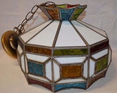 Vintage Leaded Glass Hanging Lamp multi colored