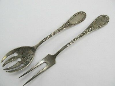 "800 Silver 2 Rose Theme Serving 8 3/8"" Fork & 7 ¾"" Spoon Excellent Cond No Mono"