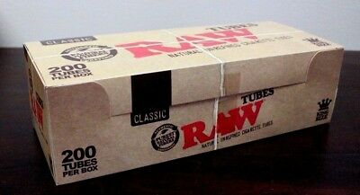 RAW Classic King Size Brown Tan Cigarette Tubes~1 Box~200 Tubes Total~SALE