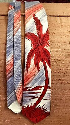 Vintage Swing Necktie 30s 40s 50s Palm Tree Tie Hawaiian