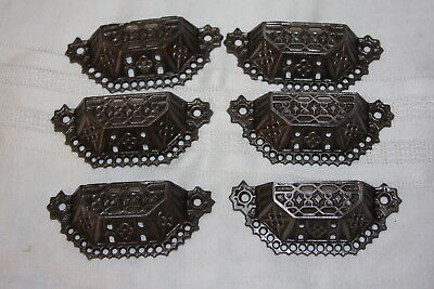6 Antique Cast Iron Eastlake Open Cut Out Dresser Bin Pull Handles