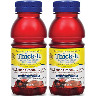 2 Pack Thick-It AquaCare H2O Thickened Cranberry Juice Nectar Consistency 8oz Ea