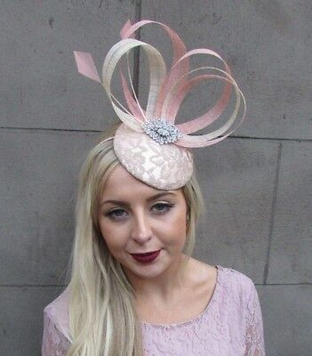 Blush Light Pink Nude Beige Sinamay Feather Fascinator Pillbox Hat Races 4884