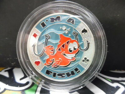 """I'm a Fish"" Fish silver Color Poker Card Guard Protector W/case FREE POSTAGE"