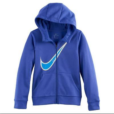 Nike Kids Girls Youth Therma Graphic Full Zip Hoodie Purple Comet NEW