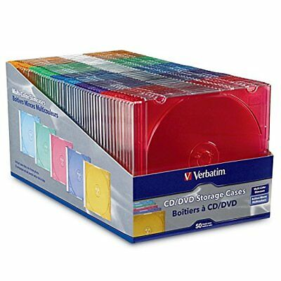 Assorted Colors Verbatim 50-Ct Slim DVD Storage Cases Plastic Jewel CD Case