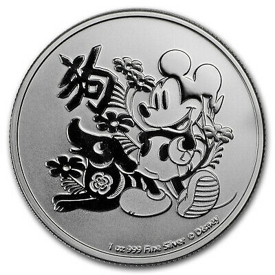 2018 Niue 1 oz Silver $2 Disney Lunar Year of the Dog BU