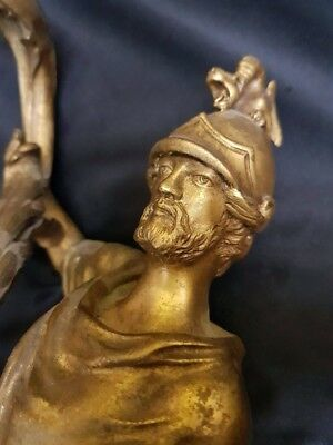 Pair LARGE French Bronze Dore 19th c Roman Gods/ soldier Ormolu Sconces Gilded