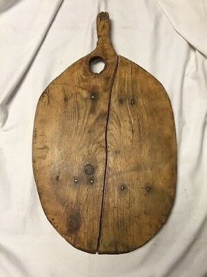 Early Primitive Large Bread or Dough Board with Old Repairs & Knothole ~ PR381