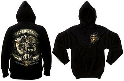 Black Ink Usmc Bulldog Us Marines Hoodie Pullover Army Sweatshirt M / Medium
