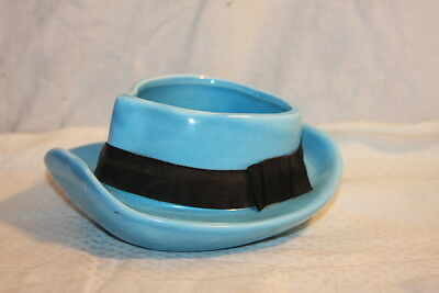 Vintage Napco Japan Fedora Hat Planter Trinket Tray Blue W Black Ribbon