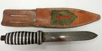 WWII Trench Art, Theater made Knife, 1st Infantry Patch, Sheath  #TK31