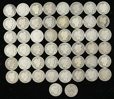 Mixed Date Barber Dime 10C Good Plus G + Full Roll 50 Silver Coins