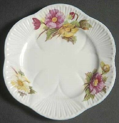 """Shelley Begonia Bread and Butter Plates 6"""" Pink and Yellow Flowers"""