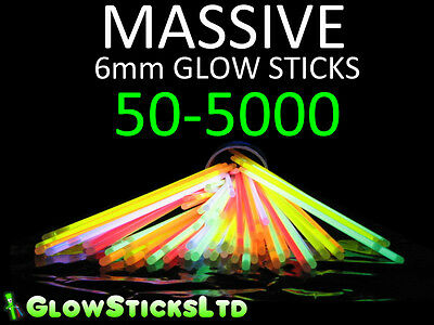 Glow Sticks / Bracelets - 44% Larger (6Mm) - Multiple Colours
