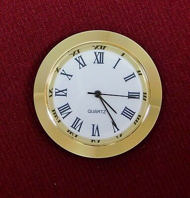 "Seiko Insert Clock Movement NEW Quartz Fit Up 1 7/16"" White Roman Dial 37GWR"