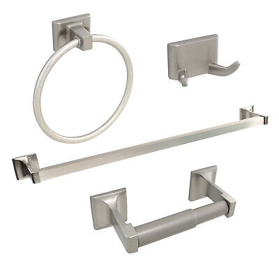 "Brushed Nickel 4 Piece Bathroom Hardware Accessories Set with 24"" Towel Bar"