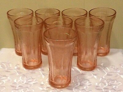Vintage 8 Pink Depression Indiana Federal Glass RECOLLECTION Tumblers Tea Madrid
