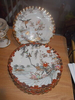 "6 Handpainted Signed 8.75"" Oriental Dessert Plates - Different Birds on Each #2"