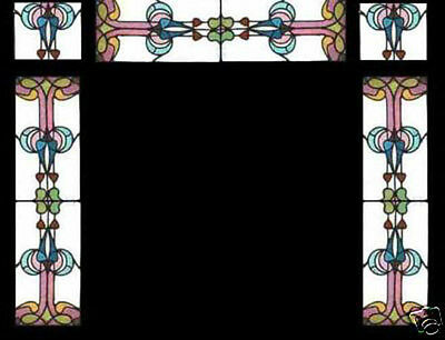 5 Antique Victorian Stained Glass Windows ENTRANCE SET