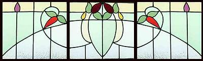 Set 3 Antique Stained Glass Windows GRACEFUL VICTORIAN