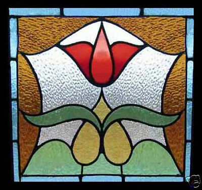 Antique Stained Glass Window VICTORIAN RED TULIP U.K.