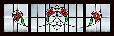 Set 3 Antique Stained Glass Windows  VICTORIAN FLORAL