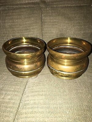 Pair of Vintage ornate solid brass planter pot bowl