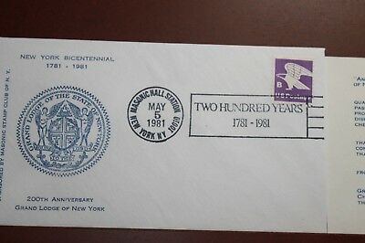 3 Sets Stamps New York Bicentennial 1781-1981 Masonic Hall Station May 5Th 1981