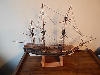 Vintage 28 Inch Long Hand Made Wooden Pirate Ship For Restoration Usa Sale Only