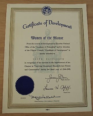 "VTG WWII Era 1944-45 Certificate of Development~""WOMEN of the MOOSE""~"