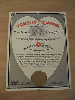 "WWII Era 1942 Membership Certificate~""WOMEN of the MOOSE""~Ephemera~"