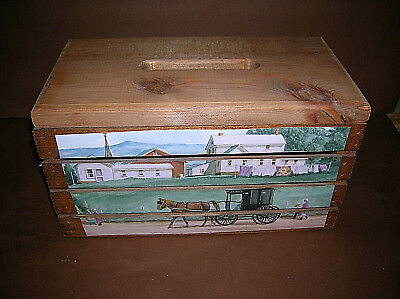 """Vintage Wooden Tissue Box Amish Decor Hand Made Distressed w/ Lid 12.5"""" Long"""