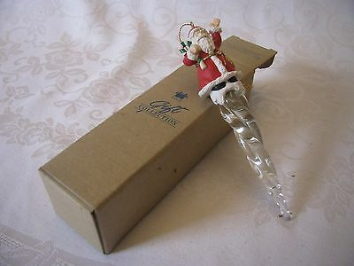 Vintage Avon Icicle Fun Ornament Santa with Candy Cane NIB