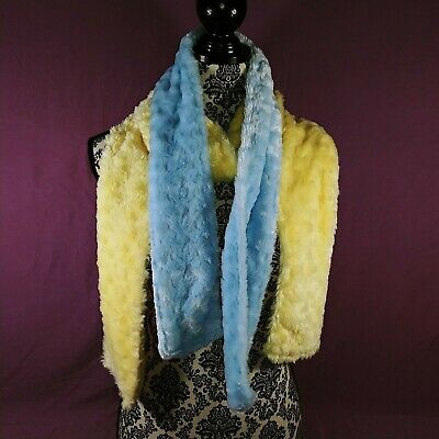 2 Fuzzy Scarves Light Blue & Yellow SUPER SOFT