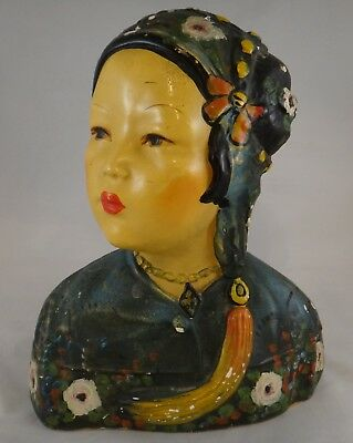 """Rare 1923 Joe Celona Chalkware Chinese Girl Bust. Signed, 9 ½"""" tall and 8"""" wide."""