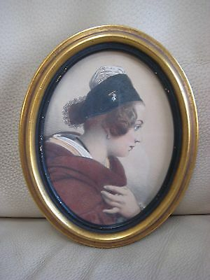 Antique Vintage European Oval Miniature Young Lady Woman Portrait Framed Old Vtg