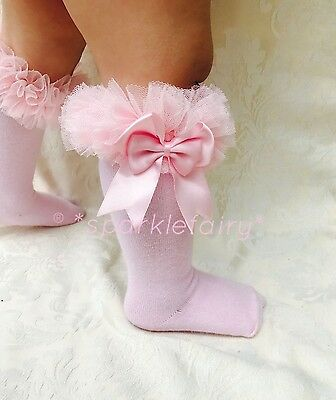 Spanish Romany Baby Girls Tutu Socks Double Bow Knee High. Party, Christmas