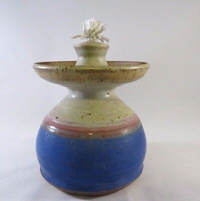 Vintage Oil Lamp White Blue Brown Swirl Glazed Stoneware Pottery With Wick