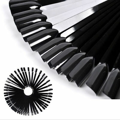 50 False Black Display Nail Art Fan Wheel Polish Practice Tip Sticks Design DIY