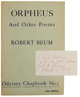Robert BEUM / Orpheus & Other Poems 1959 Poetry Signed First Edition #141056