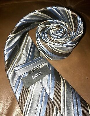 Hugo Boss 100% silk Men's Tie Necktie Made in Italy Brown Blue Cream Striped