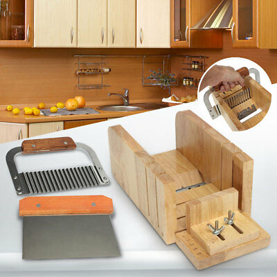 Adjustable Soap Loaf Mold Wood Box Straight/Wavy Cutter Cutting Stainless Tool